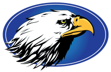 Blenman Elementary School Logo blue oval with eagle head