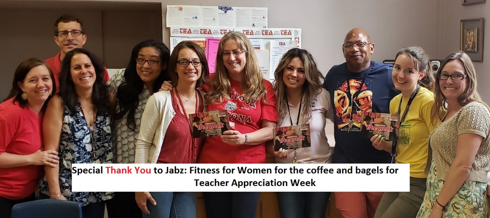Photo of Teachers With Text Special Thank You To Jabz Fittness For Women for the coffee and bagels for Teacher Appreciation Week